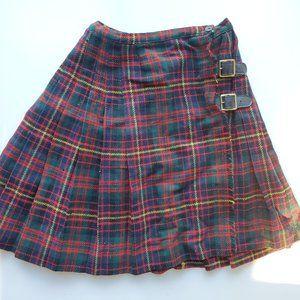 Vintage Madison Pleated Plaid Hi Waist Mini Skirt